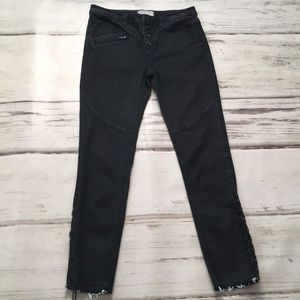 Free People Jeans Skinny Laced Raw Hem Black 27